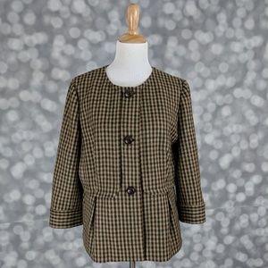 Talbots Tailored Wool Plaid Blazer